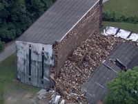 WATCH: Kentucky warehouse collapse creates giant bourbon barrel heap