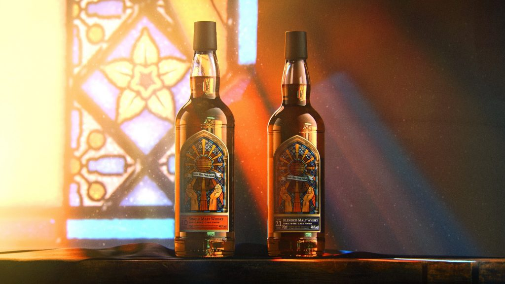 tonic wine cask finished whiskies in front of a stained glass window
