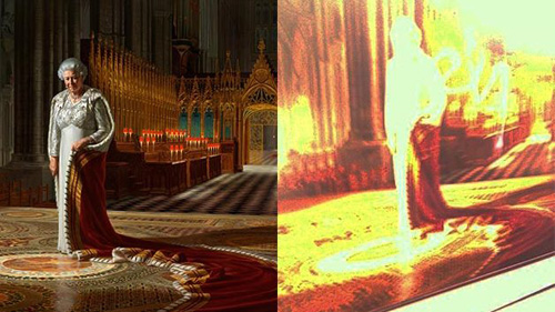 westminster abbey vandalised queen portrait