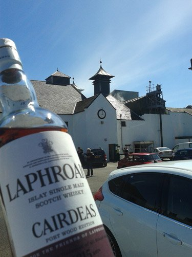 Cairdeas and Laphroaig clock tower