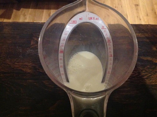 Master of Cocktails Bourbon Vanilla Shake measuring whole milk