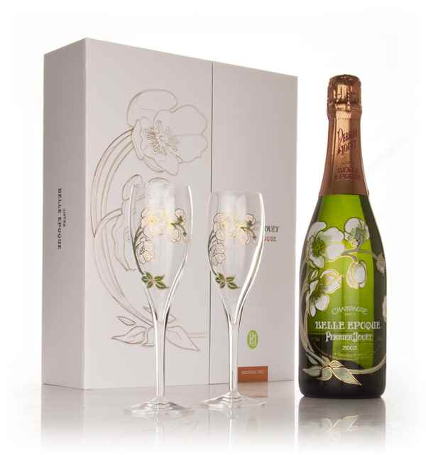 Perrier-Jouët 2002 Belle Epoque Brut with 2 Champagne Flutes