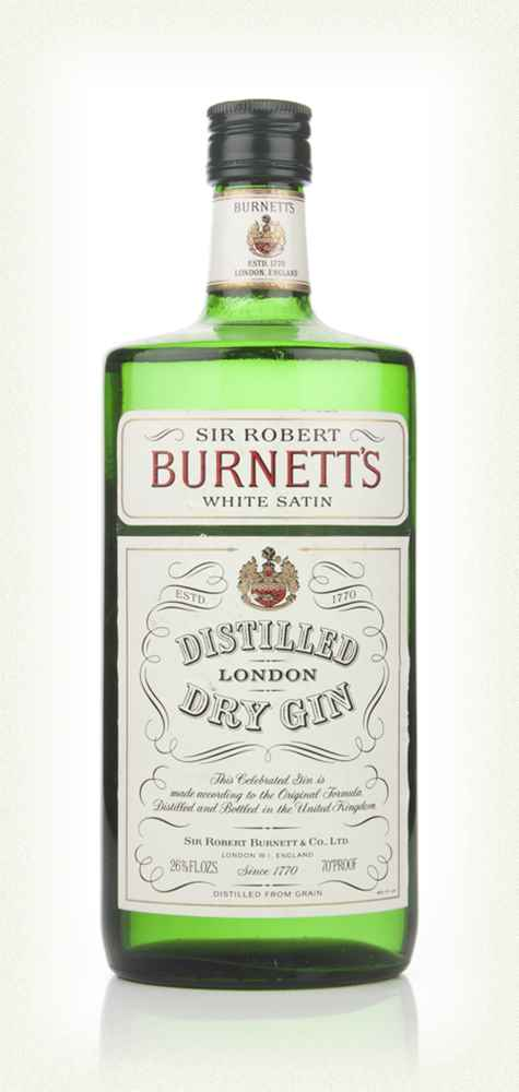 Burnett's White Satin London Dry Gin - 1970s