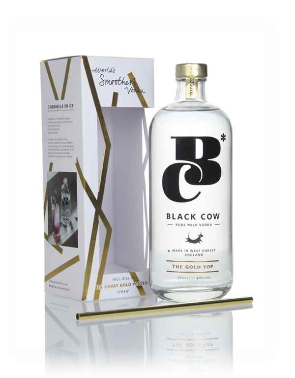 Black Cow Pure Milk Vodka Gift Pack with Gold Plated Straw
