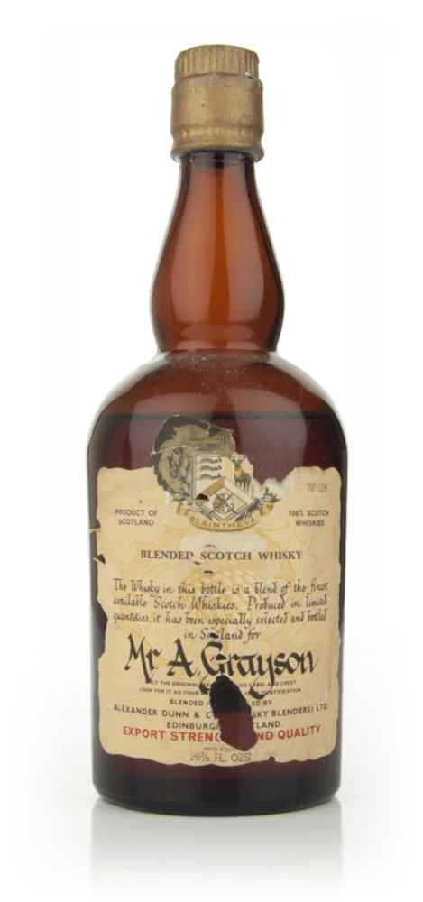 Alexander Dunn Blended Scotch Whisky - 1960s - for Mr Grayson