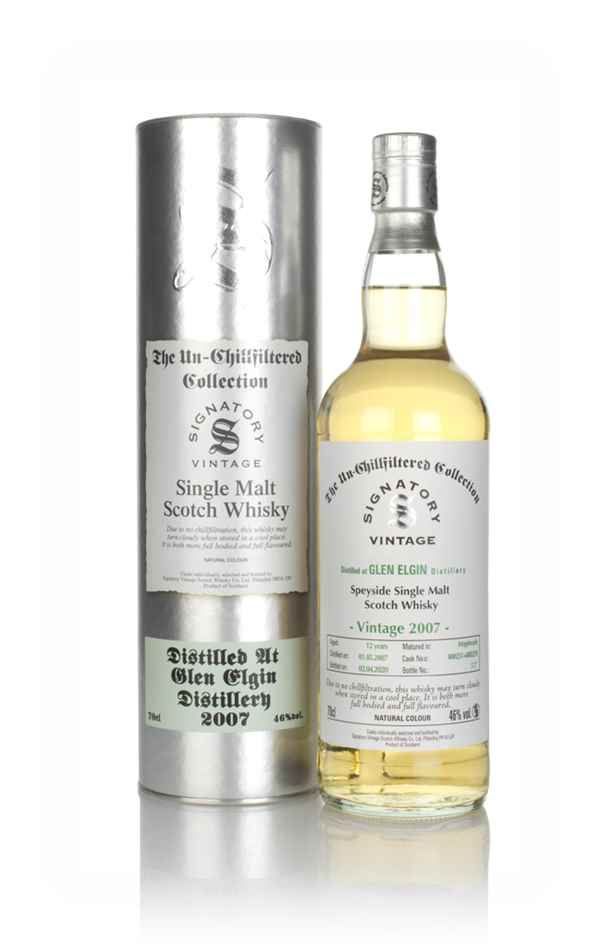 Glen Elgin 12 Year Old 2007 (casks 800251 & 800529) - Un-Chillfiltered Collection (Signatory)