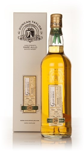 Glen Moray 20 Year Old 1990 - Rare Auld (Duncan Taylor) -  water damage to bottom of presentation box