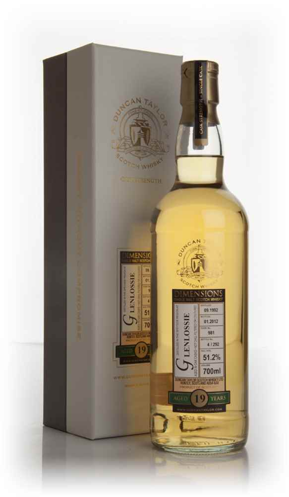 Glenlossie 19 Year Old 1992 Cask 981- Dimensions (Duncan Taylor)
