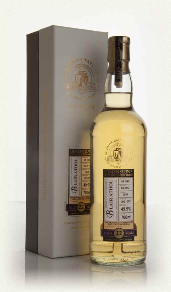 Blair Athol 22 Year Old 1989 Cask 2928 - Dimensions (Duncan Taylor)